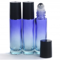 10ml Ombre Blue Glass Roll-On Bottle with Black Lid