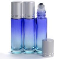 10ml Ombre Blue Glass Roll-On Bottle with Matt Silver Lid
