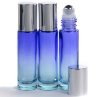 10ml Ombre Blue Glass Roll-On Bottle with Shiny Silver Lid