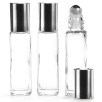 10ml Clear Glass Roll-On Bottle with Shiny Silver Lid