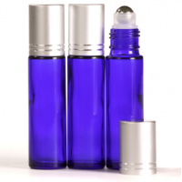10ml Cobalt Blue Glass Roll-On Bottle with Matt Silver Lid