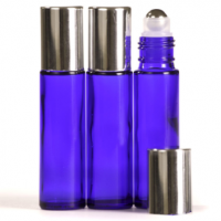 10ml Cobalt Blue Glass Roll-On Bottle with Shiny Silver Lid