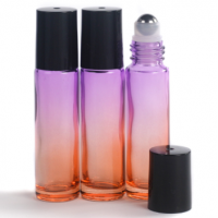 10ml Gradient Orange to Purple Glass Roll-On Bottle with Black Lid