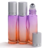 10ml Gradient Orange to Purple Glass Roll-On Bottle with Matt Silver Lid