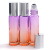 10ml Gradient Orange to Purple Glass Roll-On Bottle with Shiny Silver Lid