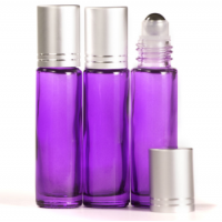 10ml Purple Glass Roll-On Bottle with Matt Silver Lid