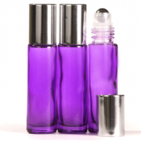 10ml Purple Glass Roll-On Bottle with Shiny Silver Lid